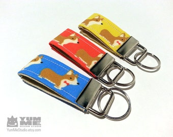 Corgi Small Key Chain  Yellow Blue or Red (Made to Order)