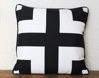 Black and white outdoor cross pillow cover