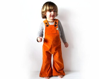SALE 15% - Dungarees kids flared orange cordoruy overalls toddlers cute hippie clothing clementine sunshine rainbow spring summer clothes