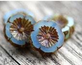 ON SALE Opal Blue Pansy beads, 14mm flower beads, czech glass picasso beads, daisy, Hawaiian Flower, table cut - 4Pc - 1143