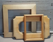 Handmade Vintage Picture Frame Lot of 3, Various Sizes Unfinished Wood