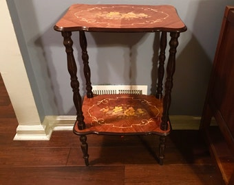 Vintage Collectible Accent Italian Notturno Intarsio Inlaid Wood Table Sorrento Italy / Display Table / Decorated Wood / Rosewood Tables