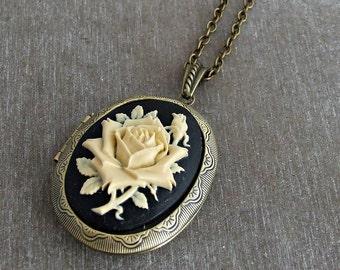 Rose Cameo Locket Necklace .. black ivory rose, flower locket, rose necklace, large locket, Victorian style, birthday gift