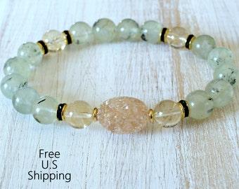 Drusy bracelet, Prehnite, Citrine, gemstone bracelet, Yoga Bracelet, mala, healing bracelet, Druzy bracelet, reiki, quartz bracelet