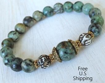 Change, African Turquoise, Mantra, Turquoise Mala, Yoga Bracelet, Meditation bracelet, Reiki Jewelry, wrist mala, stacking bracelet, Mala