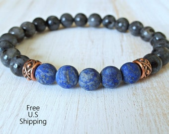 Men's bracelet, Black Moonstone, Lapis Lazuli, healing, Energy bracelet, Meditation, wrist mala, Reiki charged, gemstone bracelet, mala