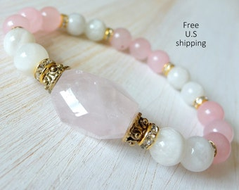 Grade A Moonstone, Rose Quartz, healing bracelet, calming, oga Bracelet, Meditation bracelet, Reiki, mala, Moonstone bracelet, love bracelet