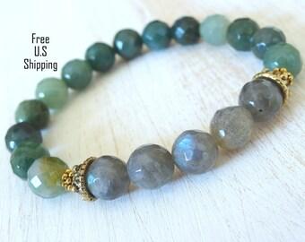 Balance, Labradorite, Moss Agate, yoga bracelet, energy mala, Meditation bracelet, Reiki, Gemstone bracelet, labradorite bracelet, Mala