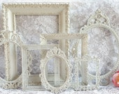 Shabby Chic Frames, Ornate Frames, Open Picture Frames, Vintage Cream White and Gold Frames, Wall Gallery Frames, Wedding Decor