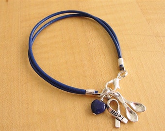 Blue Leather Awareness Bracelet  - The Spoon Theory - POTS, Dysautonomia, ARDS, Arthritis, CFS, Transverse Myelitis, Huntingtons, Crohns