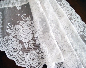 Vintage Lace Curtains, 2 Piece Rose Floral Valance, Swag Pair, Scalloped