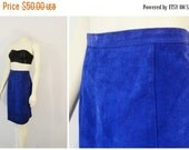 CLOTHING SALE Vintage Skirt 80s Suede Electric Indigo Blue  Fox Run Suede Leather Pencil Skirt Size 12 Modern Medium