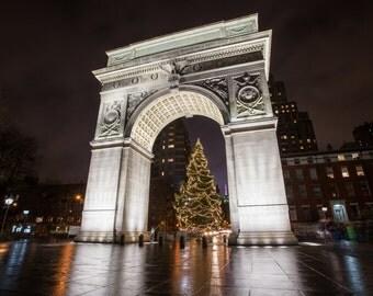 Washington Square Park with a Christmas Tree - New York City Photography