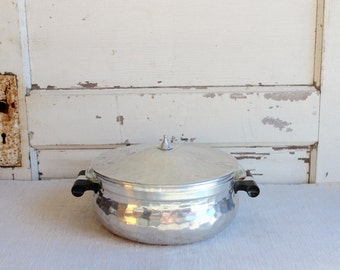 Vintage Spain Lidded Silver Casserole Dish Holder Carrier and Fire King USA Glass Divided Baking Dish