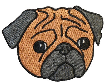 Sad Pug Iron On Patch Embroidery Sewing DIY Customise Denim Cotton Cute Dog Lover Hipster Funny