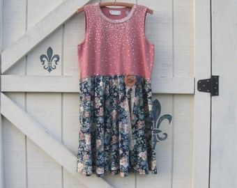 Bohemian dress L. floral romantic dress, L, romantic dress, beach apricot dress, eco fashion