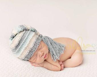 Newborn Hat, Stocking Hat, Cream, Mint, Aqua, Photo Prop