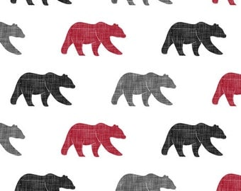 Bear Crib Bumper - Gray, Black, Red, Lodge, Woodland