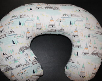 Nursing Pillow Cover - Indian Summer Woodland Oak or Woodland Pine Minky Boppy Cover - Woodland, Fox, Tee Pee, Pine Trees - Ready to Ship