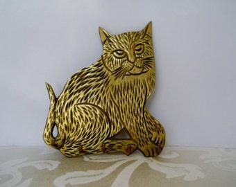 Vintage Brass Cat Key Hooks