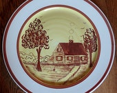 "Gorgeous and Rare Artist Signed Blue Ridge ""Yellow Cabin"" Plate by Louise Guinn"