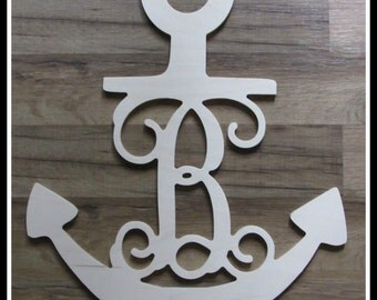 "Anchor Door Hanger with Monogram Letter - Unpainted Wood - 22"" size - Wooden Letter Decor - Wall Hanging - Nautical decor -Navy - Sailing"