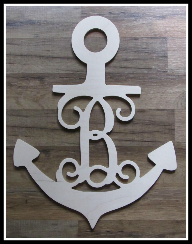 Anchor door hanger with letter unpainted wood 22 size for Anchor door decoration