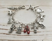 Wizard of Oz, FREE SHIPPING, Little Girl or Adult Charm Bracelet (With RUbY SLIPpERS), by Okrrah
