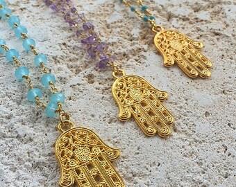 ΔΔ Hamsa Rosary Stone Prayer Necklace ΔΔ