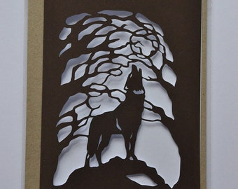Howling Wolf - Paper Cut Card - Original Design - Handmade - Wolf Card - Howling at the Moon