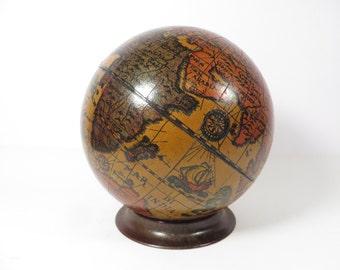 Vintage Wood Olde World Globe Bank -  Made in Italy World Globe Bank