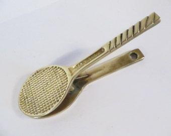 Vintage Brass Tennis Racket Clip - Brass Tennis Racket Paper Clip