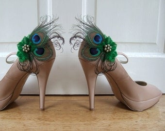 "Bridal Peacock Feathers Emerald Green Shoe Clips ""Marie"" (Pair) - 2 Days To Make - Bride Bridesmaids Party Mother of The Bride Irish Wedding"