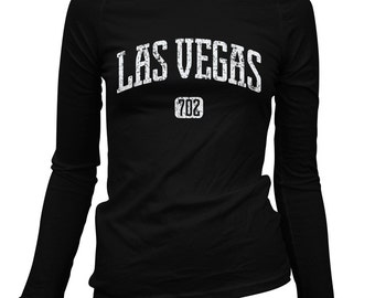 Women's Las Vegas 702 Long Sleeve Tee - S M L XL 2x - Ladies' Las Vegas T-shirt, Nevada, Sin City - 3 Colors