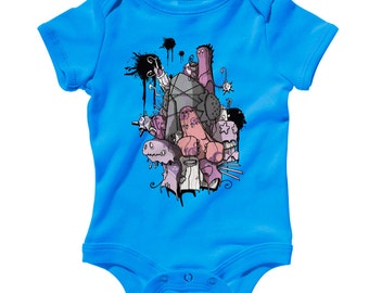 Baby Terrortimes Romper - Infant One Piece, Creeper - NB 6m 12m 18m 24m - Monster, Creature, Imagination - 2 Colors