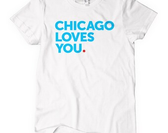 Women's Chicago Loves You T-shirt - S M L XL 2x - Ladies' Chicago Tee, Love, Native, Windy City - 4 Colors
