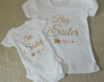 Big Sister Little Sister Outfits...Siblings...Newborn Onesie...Little Girl Shirt...Sister Outfits...Reveal Outfits...Gold Sparkle...Arrows