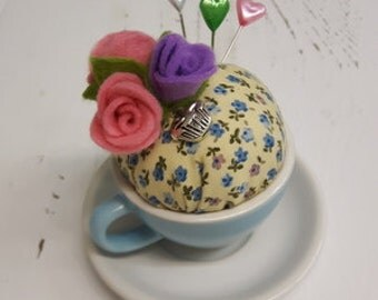 Handmade teacup pincushion - blue