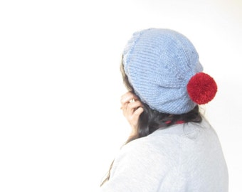 Pom Pom Hat hand knitted slouchy beanie in Light Blue with Red Pompom, Unisex
