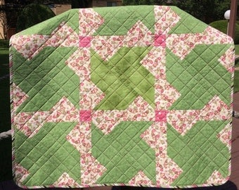 "Chunky Pinwheels In Florals of Pink, Spring Green and Brown, In This 37.5"" X 38"" Quilt"