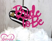 Centerpiece Toppers in Hot Pink, Black & White Stripes and Glitter Gold Bride To Be -  Bridal Shower Decor - Custom Sayings Available
