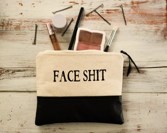 Face Shit Makeup Bag with Recycled Leather