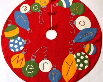 Handmade Wool Felt Christmas Tree Skirt: Celebrate with Ornaments this Holiday!