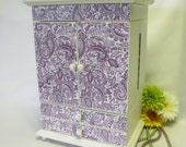 Large Jewelry Box Lavender and White - Jewelry Organizer, Purple, Shabby Chic, Cottage, Gift for Girls or Women - Upcycled
