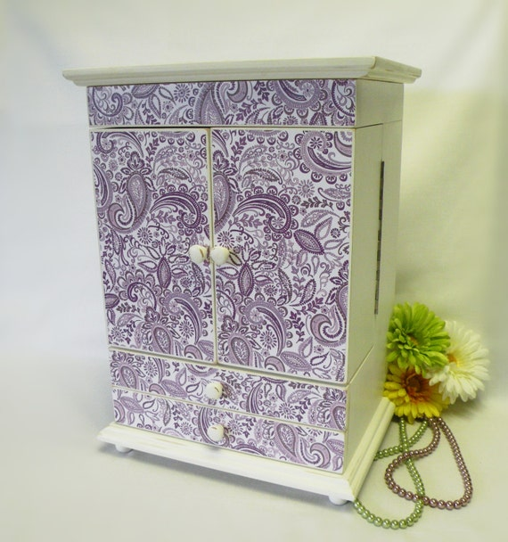 Large jewelry box lavender and white jewelry organizer for Girls large jewelry box