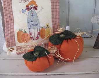 Pumpkins Set of 2 Stuffed Large Small Burnt Orange Suede Cloth Dk Green Floral Bow Jewel Fall Autumn Decor Thanksgiving Table Centerpiece