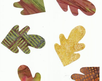 Set of 6 Harvest/Fall/Autumn Colors Leaf/Leaves Fabric Iron on Appliques