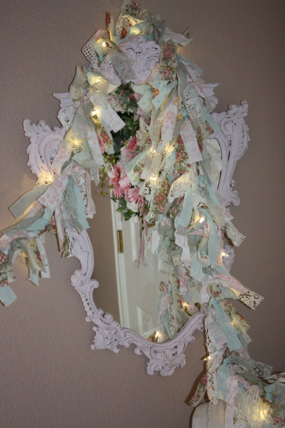 Shabby chic cottage lighted rag garland wedding by for Shabby chic garland lights