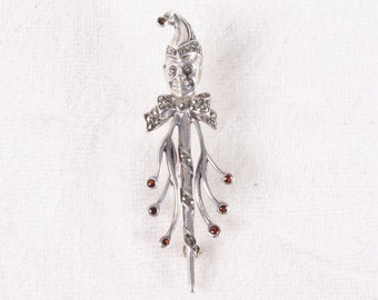 Vintage Red Rhinestone Jester Sterling Silver Pin / Brooch