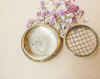 Vintage Brass Container Lid Wedding Ring Bearer Terrarium Jewelry